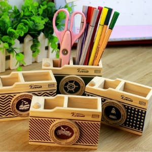 美麗大街【BF266E20E820】多功能桌面文具收納筒創意木質海洋相機造型筆筒