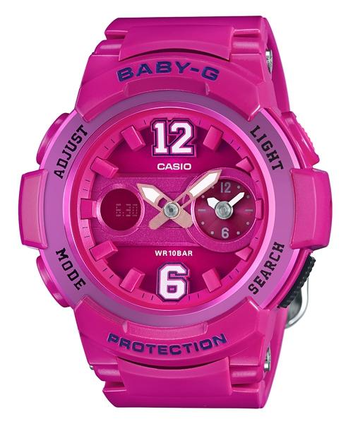 CASIO BABY-G BGA-210-4B2街頭運動雙顯流行腕錶/桃紅色46mm