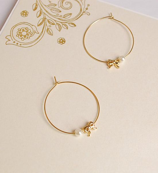 精緻蝴蝶結珍珠圈圈夾式耳環