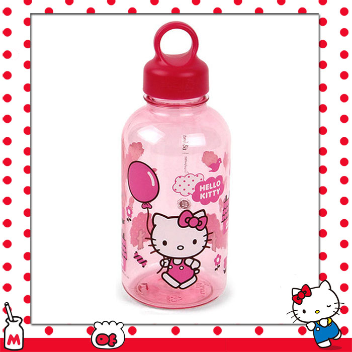 大田倉 日本進口正版 三麗鷗HELLO KITTY凱蒂貓 拿氣球 粉色 塑膠透明 水瓶 水壺  023672