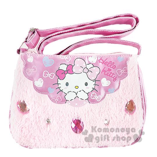 〔小禮堂〕Hello Kitty 兒童絨毛斜背包《粉.寶石.雙蝴蝶結》冬日聖誕限定系列