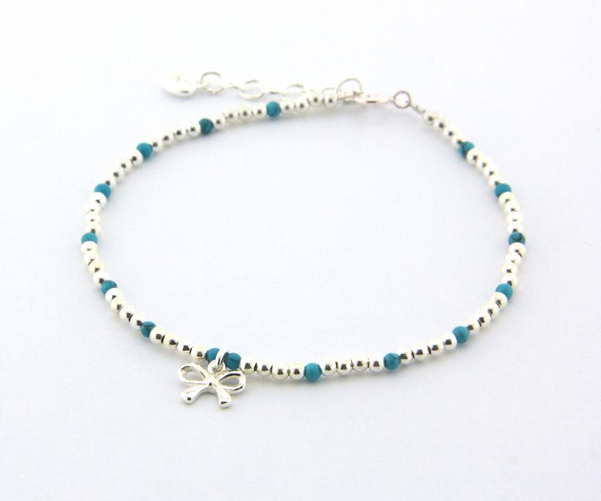 綠松石 (土耳其石) 手鍊,搭配多款 925銀 Charm,DeeDee Jewellery 12月誕生石、生日石
