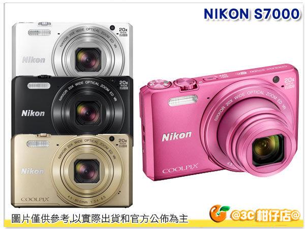 送電池*2+座充+自拍棒+收納袋+清潔組等好禮 Nikon CoolPix S7000  國祥公司貨 隨身機 名片機