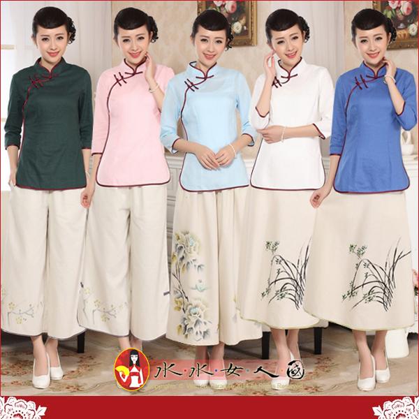 【水水女人國】~中國風美穿在身~清風(五色)。古典手工扣棉麻七分袖旗袍式唐裝上衣