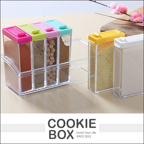 廚房 調味盒 六件組 餐桌 調味罐 調味料 容器 收納罐 收納盒 透明 方便 組合 *餅乾盒子*