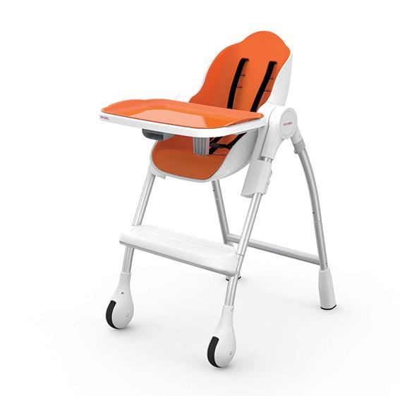 【淘氣寶寶】Oribel Cocoon 時尚機能高腳餐椅 橘色【公司貨】贈【慕之恬廊 Mustela 多慕雙潔乳200ml】