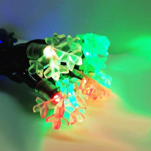 聖誕燈裝飾燈LED20燈雪花燈造型燈(彩色光)(插電式/自動雙色雙閃) YS-XLP020002