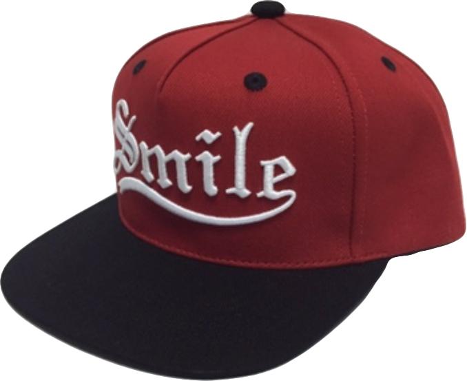 smile 立體 電繡 棒球帽  平板帽 紅 粉藍