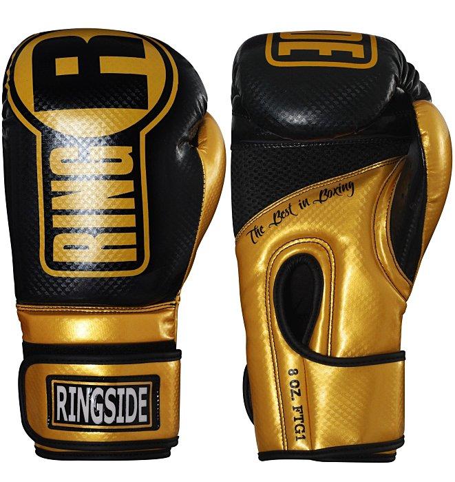 正版新款健身房COMBAT康貝拳擊Ringside 8oz/14oz PRO透氣~打沙袋拳套~免手綁帶-黑金