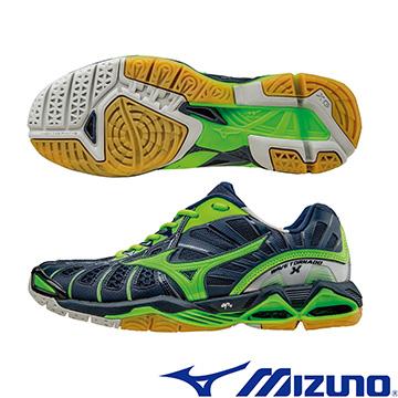 V1GA161236(丈青X綠)WAVE TORNADO X 頂級排球鞋 A【美津濃MIZUNO】