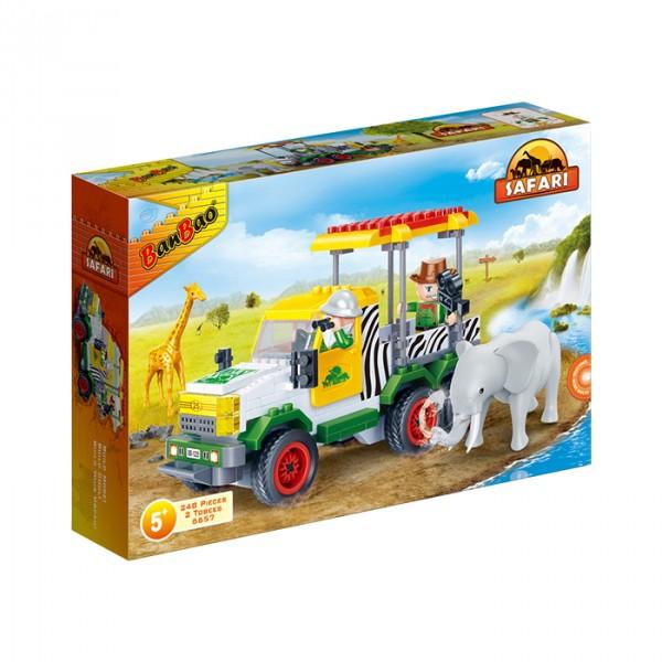 【BanBao 積木】野生動物園系列-遊園吉普車 6657  (樂高通用) (單筆訂單購買再加送積木拆解器一個)