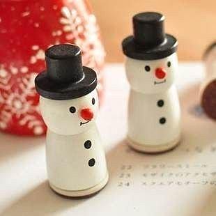 =優生活=韓國文具 唯美雪人木質印章 小清新雪花圖案 裝式印章 聖誕禮物
