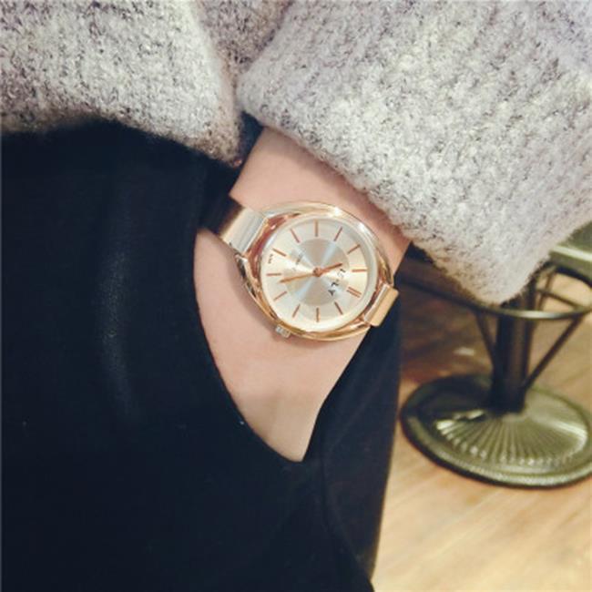 50%OFF【H019053WAH】韓版潮流時尚手錶歐美潮牌氣質金色土豪金細錶帶鋼帶大盤女表學生