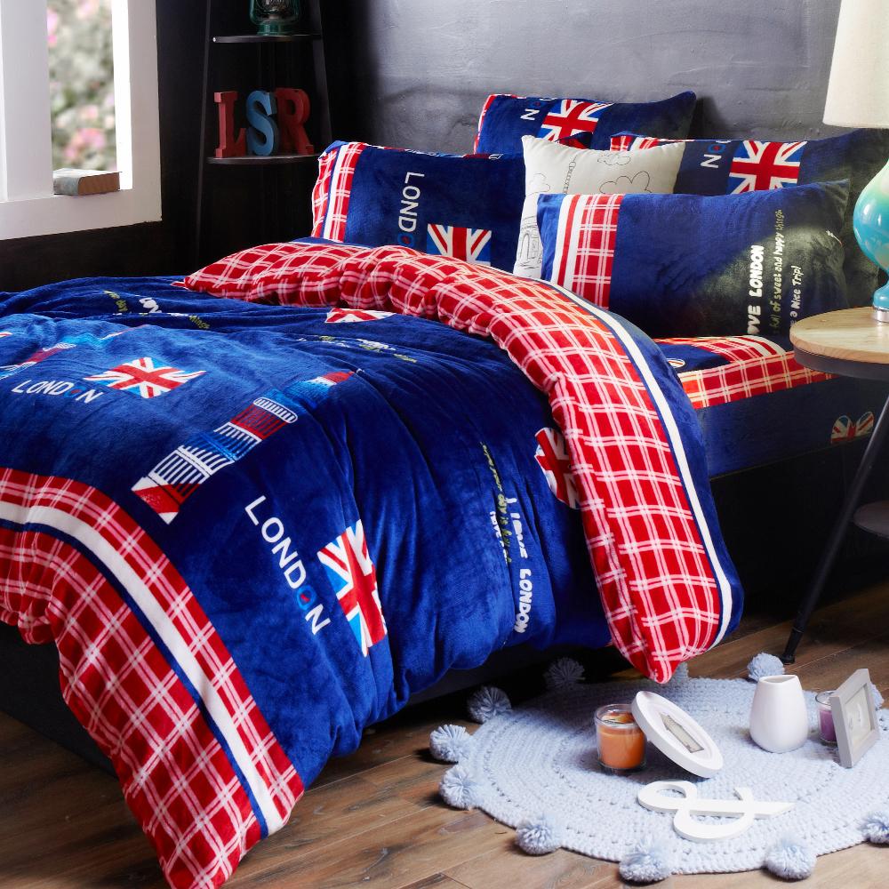 雙人四件式 法蘭絨兩用毯被套舖棉床罩組 倫敦之心  哇哇購