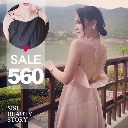SISI【D6130】女神模範鏤空大露背荷葉交叉細肩吊帶氣質大襬連身長裙洋裝