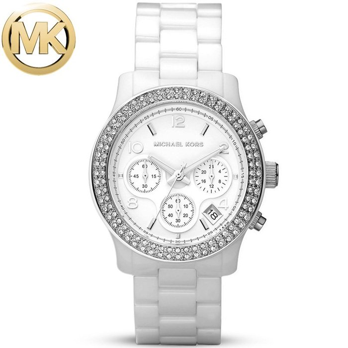 【MICHAEL KORS】正品 簡約時尚躍動三眼計時陶瓷腕錶 MK5188 白