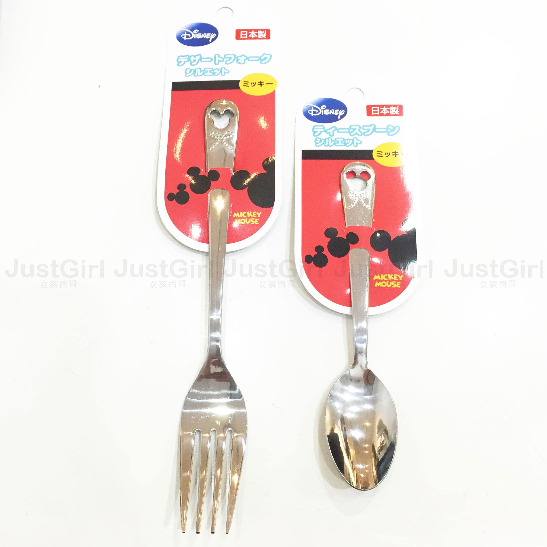 迪士尼 米奇 湯匙 叉子 大頭造型 蝴蝶結 餐具 日本製 正版日本進口 限定販售 * JustGirl *