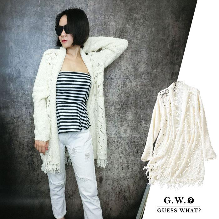 GW【 慵懶毛線針織外套】白色簍空 針織長大衣‧披風毛衣外套針織外套大尺碼 XXS-3XL號 GUESSWHAT
