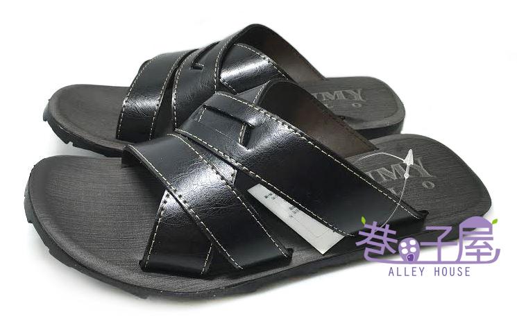 【巷子屋】JIMMY POLO 男款交叉造型質感拖鞋 [1005] 黑 MIT台灣製造 超值價$198