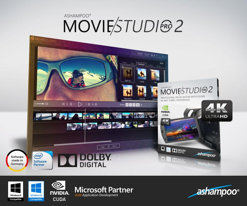 全新製作影片和剪輯大師軟體含 4K 最大解析度、Dolby 5.1 和高速轉換 - Ashampoo® Movie Studio Pro 2