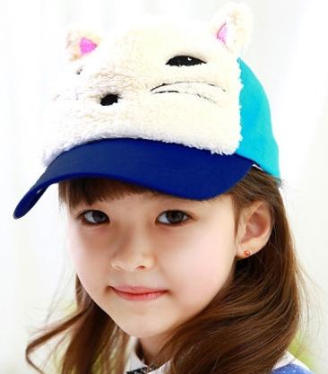 Lemonkid◆春秋冬可愛動物造型狐狸立體耳朵兒童鴨舌帽-藍色