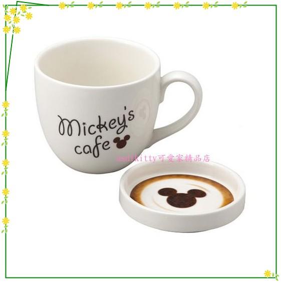 asdfkitty可愛家☆迪士尼米奇有蓋陶瓷馬克杯-杯蓋可當茶包盤.點心盤.杯墊-日本正版商品