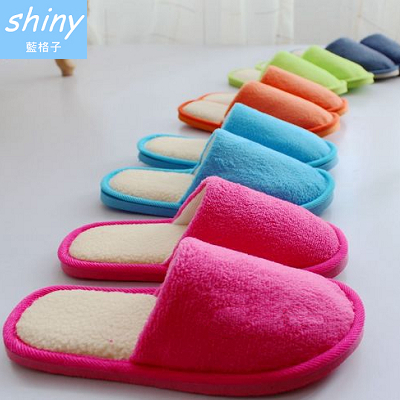 【X003】shiny藍格子-時尚色彩.簡約男女冬季保暖純色珊瑚絨家居棉拖鞋