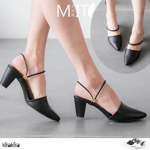 拖鞋- MIT2穿尖頭粗低跟涼鞋包鞋【011600099】