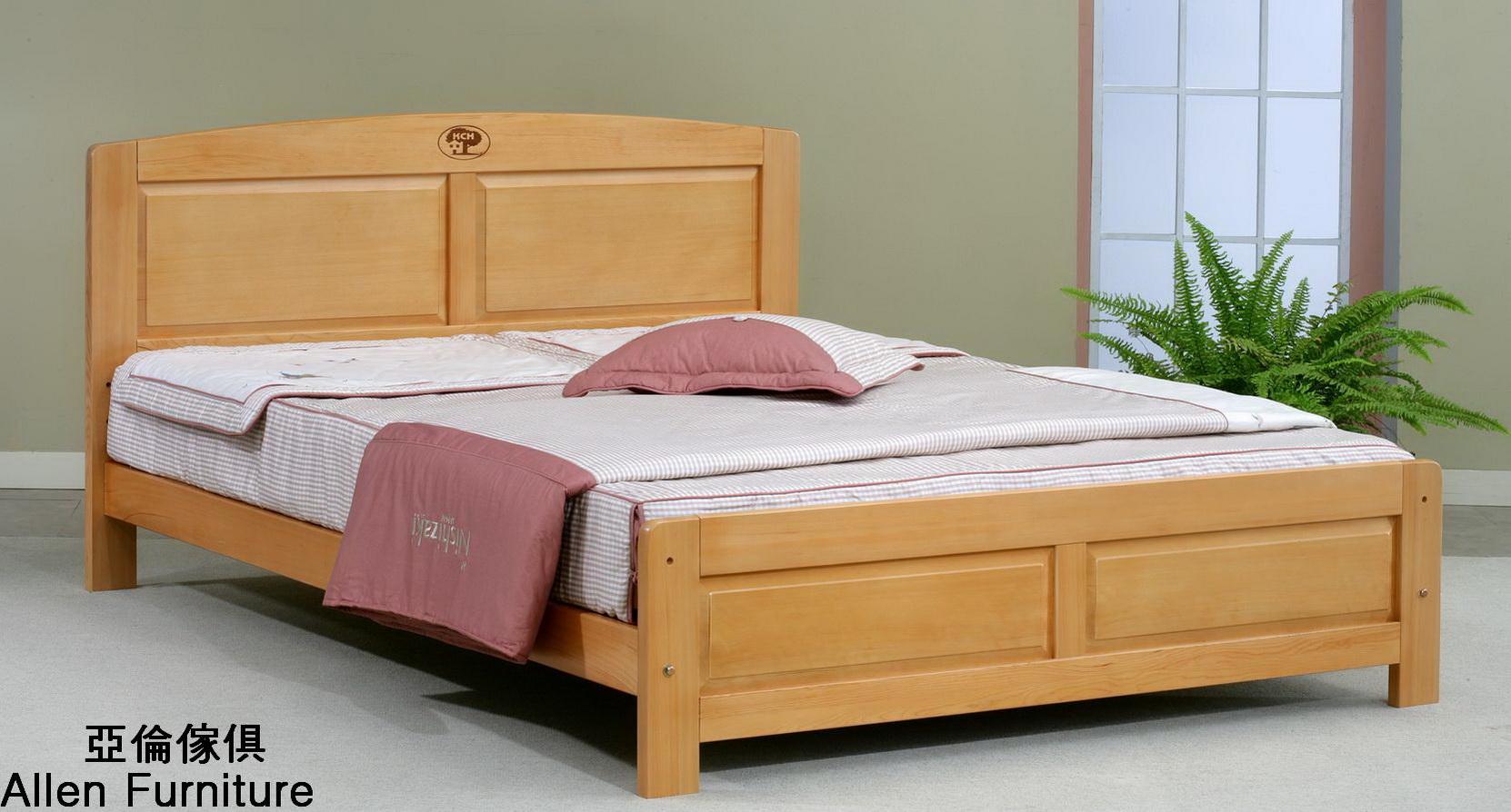 亞倫傢俱*史達琳檜木實木5尺雙人床架