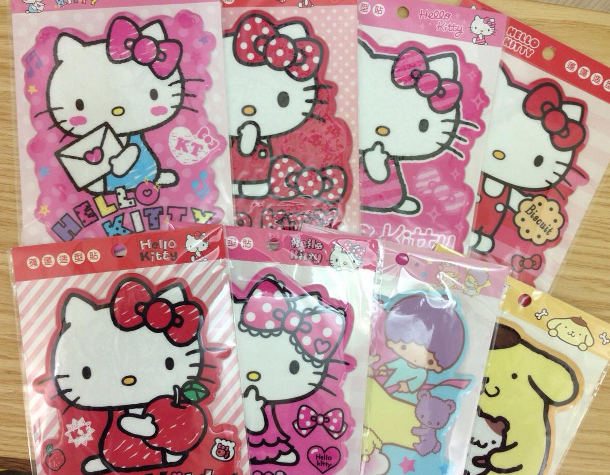 【真愛日本】15123000005超大蓬蓬造型貼紙-多款  三麗鷗 Hello Kitty 凱蒂貓  貼紙  雙子星  布丁狗 隨機出貨