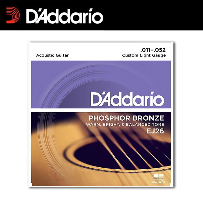 【非凡樂器】D'addario 【木】民謠吉他弦 EJ26 黃銅包覆/美製吉他弦