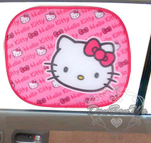 KITTY車窗遮陽板2入桃色多臉英文044657海渡