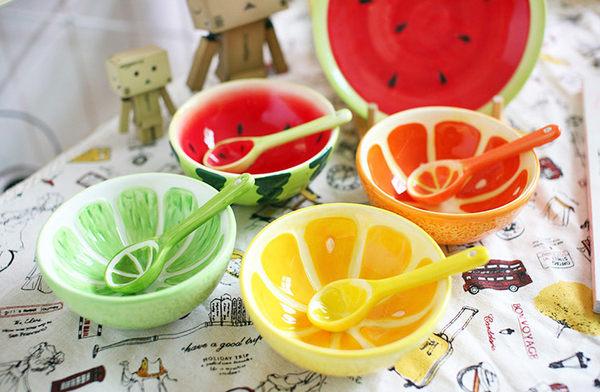 可愛手繪水果碗西瓜碗湯匙下單頁面海渡