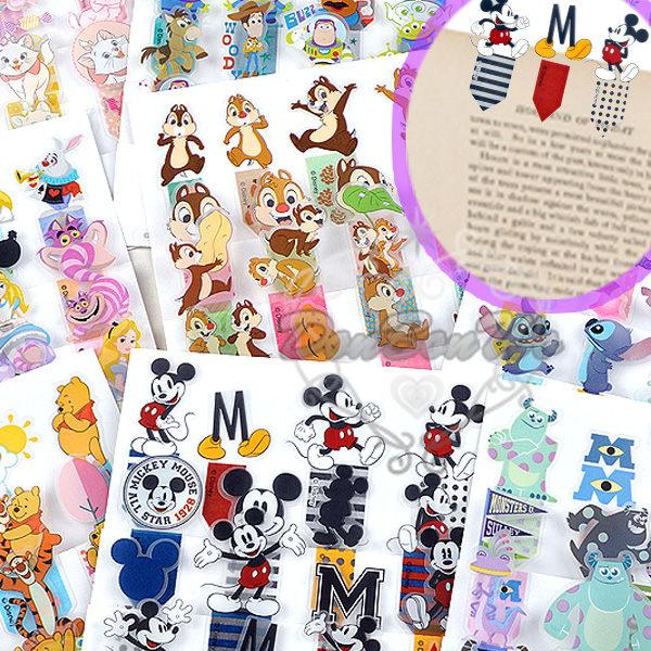 迪士尼米奇怪獸維尼玩具冰雪瑪莉貓史迪奇愛麗絲貼紙書籤貼標籤貼050011海渡
