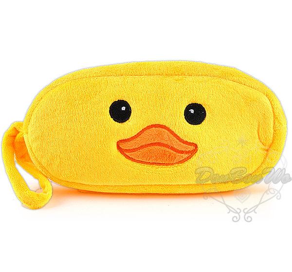 黃色小鴨筆袋化妝包收納包橢圓絨毛大臉101109海渡