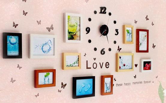 日韓11組相框組合時鐘掛鐘照片牆 實木相框相片牆首選鐘錶款代購海渡