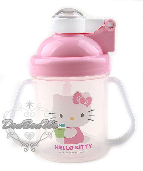 KITTY嬰兒水壺練習水杯自動彈跳側坐抱蘋果007225海渡