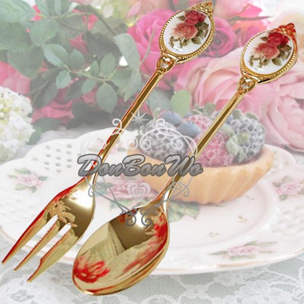 日本製英式玫瑰骨瓷下午茶深紅花湯匙120212叉子120213海渡