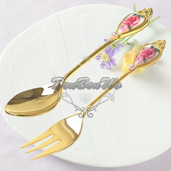 日本製英式玫瑰骨瓷下午茶水滴珍珠湯匙120215叉子120214海渡