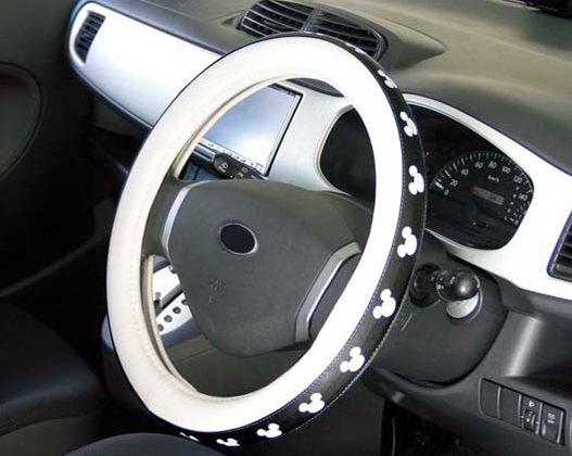 迪士尼APOLEX米奇方向盤套皮套汽車黑白大圖WD-174代購海渡