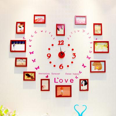 日韓客廳照片牆 相框牆相框組合相片牆掛鐘愛心時鐘083120代購海渡