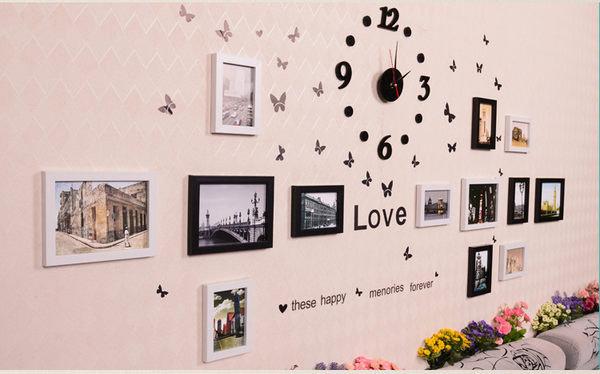 日韓客廳照片牆 相框牆相框組合相片牆掛鐘時鐘13件062906代購海渡