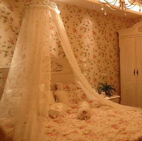 歐式宮廷公主蕾絲蚊帳浪漫單層蕾絲071369代購海渡