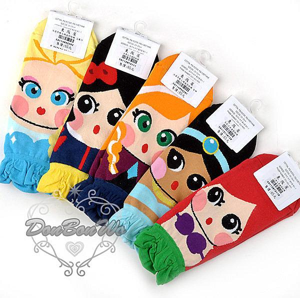 迪士尼 冰雪奇緣小美人魚 白雪公主茉莉公主襪子短襪美073110茉110720白073111海渡
