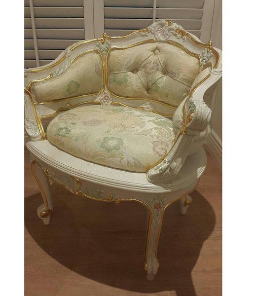 巴洛克歐式新古典沙發茶几椅子休閒椅石木圓桌化妝台椅子咖啡桌訂製代購海渡