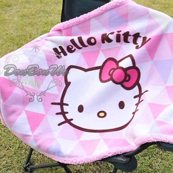 KITTY毛毯毯子單人絨毛菱格背景大臉063685海渡