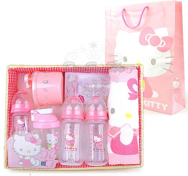 Kitty嬰兒用品竹籃彌月禮盒組毛巾奶瓶吸嘴奶粉罐070151海渡