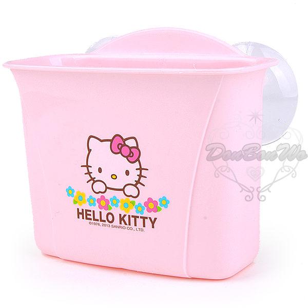 Kitty浴室吸盤收納盒雙格花朵522841海渡