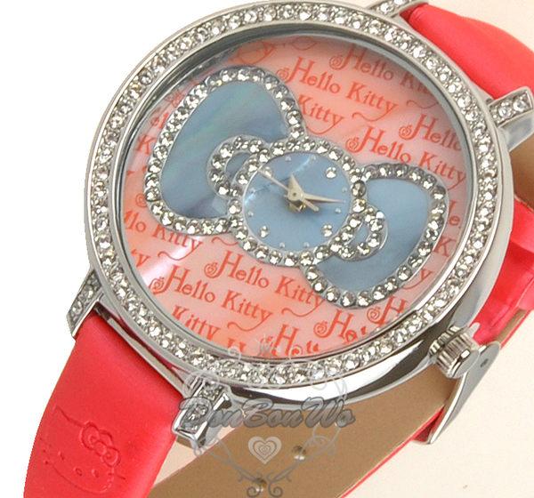 海渡--HELLO KITTY蝴蝶結晶鑽腕錶皮革錶帶手錶紅粉紅藍3款152663/152670/152687