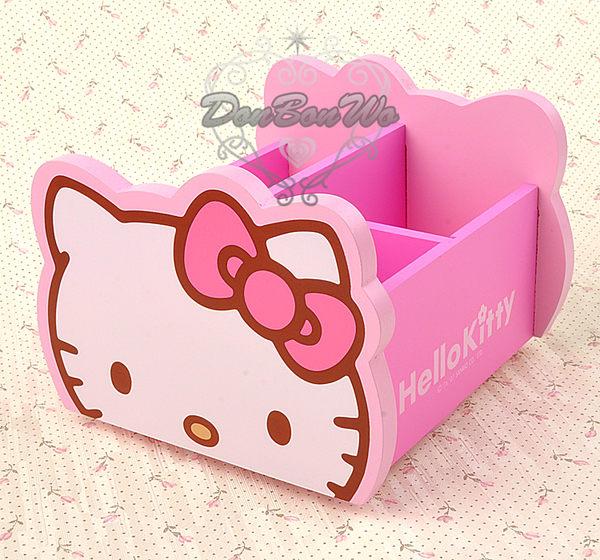 海渡-HELLO KITTY貓臉桌上型旋轉木製收納盒小954653